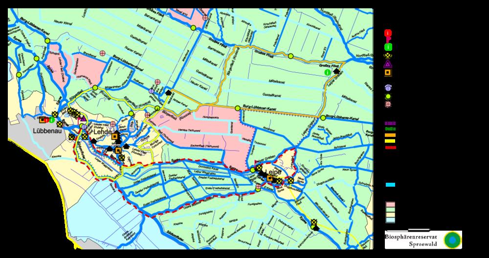Karte Spreewald Lubbenau.Wasserwanderkarten Biospharenreservat Spreewald